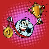 Winner champion Cup first place gold medal. Character soccer bal. L football. Comic cartoon pop art retro illustration vector drawing Royalty Free Stock Images