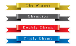 Winner Champion Ribbon set Stock Image