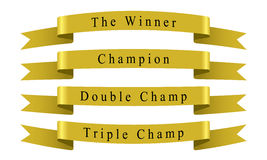 Winner Champion Ribbon set Stock Photos
