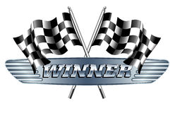 WINNER Checkered, Chequered Flags Motor Racing Royalty Free Stock Photo