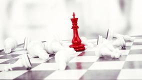 Winner chess. Red pawn chess wins against white pawns Royalty Free Stock Image