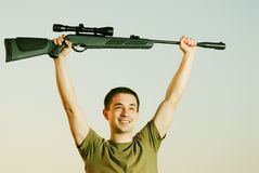 The winner of competitions on shooting. From an air rifle Stock Photos