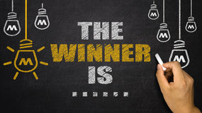 The winner is. Winner concept on blackboard background Stock Images