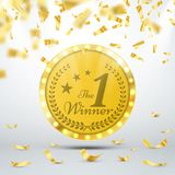 Winner concept. Gold medal with spotlights and confetti. Vector illustration. Winner concept. First place of competition. Gold medal with spotlights and confetti Stock Image