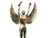 Angel statue holding the torch isolated on white background, marathon running concept stock photo