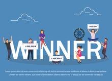 Winner concept set with winning combinations flat design. Vector illustration vector illustration