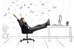 Winner. Concept of success and ambition of a winner businessman Royalty Free Stock Photography