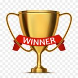 Winner concept. Trophy cup with red ribbon . Vector. Background Royalty Free Stock Photos