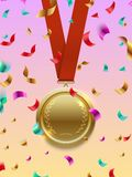 Winner concept vector - gold medal on red ribbon and confetti. Winner concept vector - gold medal on red ribbon and colorful confetti. Vector illustration Stock Images