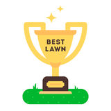 The winner cup for best green grass lawn producer. Stock Photos
