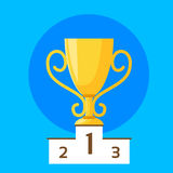 Winner Cup First Place Flat Design Vector. Winner Cup First 1 Place Flat Design Vector Illustration Royalty Free Stock Photos