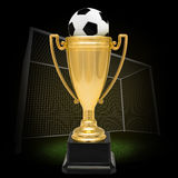 Winner cup with football Royalty Free Stock Image