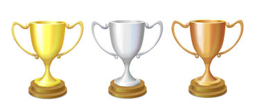 Winner cup gold, silver and bronze set. Trophy icons Stock Images