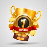 Winner cup number one with a win. Vector illustration Stock Photo