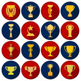 Winner cup set icons in flat style. Big collection of winner cup vector illustration symbol. Stock Photography