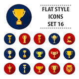 Winner cup set icons in flat style. Big collection of winner cup vector illustration symbol. Winner cup set icons in flat style. Big collection of winner cup Royalty Free Stock Photo