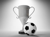 Winner cup and soccer ball. Illuminated Winner's cup and soccer ball - illustration Stock Image