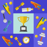 Winner cup with sports equipment banner Royalty Free Stock Image