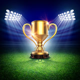 Winner cup in stadium. The imaginary stadium and winner cup are modelled and rendered Stock Image