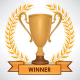 Winner cup. Trophies with laurel wreath. And copy space. Golden awards isolated Stock Photo