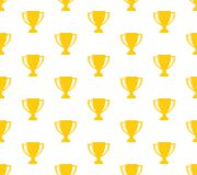Winner cup trophy seamless pattern background golden on white. Color Stock Photography