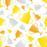 Winner cup trophy seamless pattern. Seamless pattern with gold, silver and bronze winners cup in flat design style. Champion cups and trophies template. Awards Stock Photography