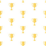 Winner cup trophy seamless pattern. Seamless pattern with gold winners cup in flat design style. Champion cups and trophies template Royalty Free Stock Photo