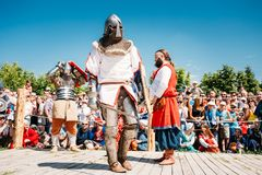 Winner And Defeated In Battle Knight. MINSK, BELARUS - JULY 19, 2014 Historical restoration of knightly fights on VI festival of medieval culture Our Grunwald Stock Images
