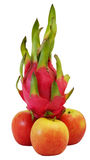 Winner dragon fruit on group of red apple Stock Photography
