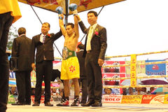 Winner fight PABA Super Flyweight Champion. SURAT THANI, THAILAND - DECEMBER 14 : Norasing Kokietgym wins over Michael Escobia after fight for PABA Super royalty free stock images