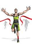 Winner in Finishing Line. Illustration of winner breaking ribbon in finishing line Stock Photo