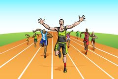 Winner in Finishing Line Royalty Free Stock Images