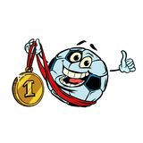 Winner first place. Character soccer ball football. Isolate on w. Winner first place gold medal. Character soccer ball football. Isolate on white background Stock Photos