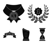 Winner for the first place in the competition, a crystal prize, a ribbon with the stars, a medal on the red ribbon. Awards and trophies set collection icons in Stock Photos