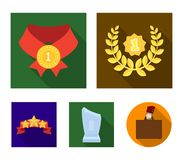 Winner for the first place in the competition, a crystal prize, a ribbon with the stars, a medal on the red ribbon. Awards and trophies set collection icons in Royalty Free Stock Photos