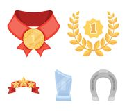 Winner for the first place in the competition, a crystal prize, a ribbon with the stars, a medal on the red ribbon. Awards and trophies set collection icons in Stock Photography