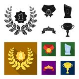 Winner for the first place in the competition, a crystal prize, a ribbon with the stars, a medal on the red ribbon. Awards and trophies set collection icons in Royalty Free Stock Photo