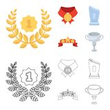 Winner for the first place in the competition, a crystal prize, a ribbon with the stars, a medal on the red ribbon. Awards and trophies set collection icons in Royalty Free Stock Photography