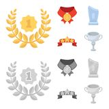 Winner for the first place in the competition, a crystal prize, a ribbon with the stars, a medal on the red ribbon. Awards and trophies set collection icons in Royalty Free Stock Image