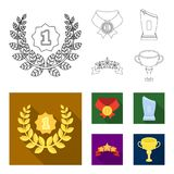 Winner for the first place in the competition, a crystal prize, a ribbon with the stars, a medal on the red ribbon. Awards and trophies set collection icons in Royalty Free Stock Images