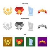 Winner for the first place in the competition, a crystal prize, a ribbon with the stars, a medal on the red ribbon. Awards and trophies set collection icons in Stock Images