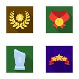 Winner for the first place in the competition, a crystal prize, a ribbon with the stars, a medal on the red ribbon. Awards and trophies set collection icons in Stock Image