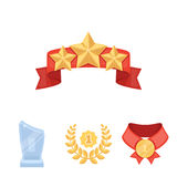 Winner for the first place in the competition, a crystal prize, a ribbon with the stars, a medal on the red ribbon. Awards and trophies set collection icons in Stock Photo