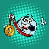 Winner first place gold medal. Character soccer ball football. Comic cartoon pop art retro illustration vector drawing Stock Photography
