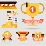 The winner first prize with germany flag. Vector Stock Images
