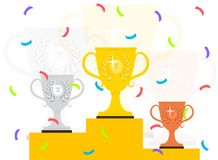 Winner podium with confetti. vector illustration