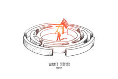 Winner forever concept. Hand drawn isolated vector. Winner forever concept. Hand drawn person winner waving a flag. Man in the labyrinth isolated vector vector illustration