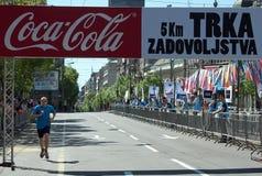 Winner of Fun Run race. BELGRADE-APRIL16: Unidentified competitor winner of Fun Run race on29th Belgrade Marathon.On April 16, 2016 in Belgrade, Serbia Royalty Free Stock Photography