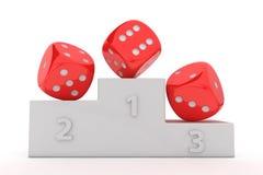 Winner gambling. Red dice on the winner's pedestal Stock Photos