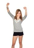 Winner girl. Isolated on a over white background Stock Photos